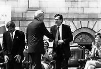 Montreal (QC) CANADA file photo Mai 17 1992- Montreal's 350th anniversary , Brian Mulroney, Canada Prime Minster (L) shake hands with  Robert Bourassa, Quebec Premier