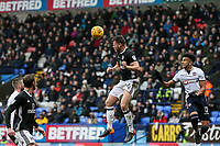 Bolton Wanderers' Derik Osede is beaten in the air by Fulham's Tomas Kalas<br /> <br /> Photographer Andrew Kearns/CameraSport<br /> <br /> The EFL Sky Bet Championship - Bolton Wanderers v Fulham - Saturday 10th February 2018 - Macron Stadium - Bolton<br /> <br /> World Copyright &copy; 2018 CameraSport. All rights reserved. 43 Linden Ave. Countesthorpe. Leicester. England. LE8 5PG - Tel: +44 (0) 116 277 4147 - admin@camerasport.com - www.camerasport.com