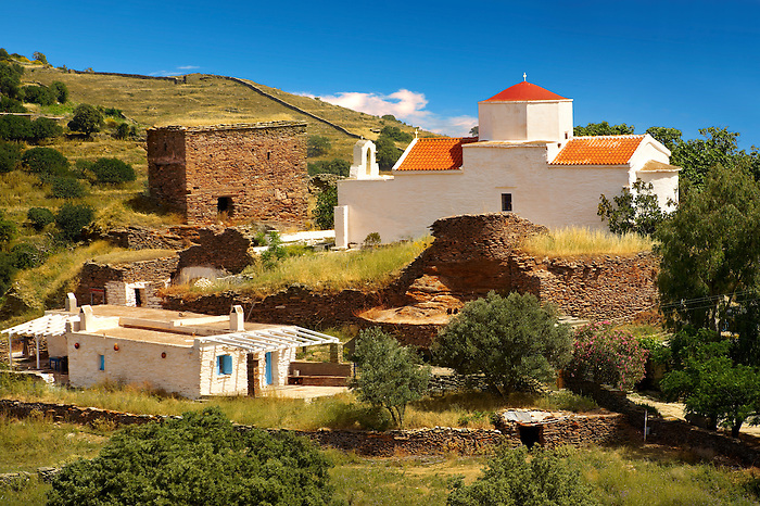 Ruins of the Monastery of Espiskopi with its Byzantine Greek Orthodox Church.. Kea, Greek Cyclades Islands.