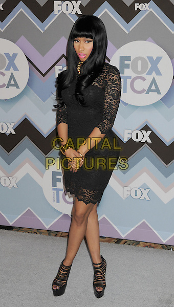 Nicki  Minaj .arriving at the 2013 TCA Winter Press Tour - FOX All-Star Party at The Langham Huntington Hotel and Spa in Pasadena, California, USA, .January 8th, 2013.   .full length black hair wig lace dress platform shoes christian louboutin heels .CAP/ROT/TM.©Tony Michaels/Roth Stock/Capital Pictures
