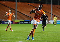 Blackpool's Sullay Kaikai celebrates scoring his side's fourth goal <br /> <br /> Photographer Alex Dodd/CameraSport<br /> <br /> EFL Leasing.com Trophy - Northern Section - Group G - Blackpool v Morecambe - Tuesday 3rd September 2019 - Bloomfield Road - Blackpool<br />  <br /> World Copyright © 2018 CameraSport. All rights reserved. 43 Linden Ave. Countesthorpe. Leicester. England. LE8 5PG - Tel: +44 (0) 116 277 4147 - admin@camerasport.com - www.camerasport.com