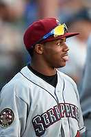 Mahoning Valley Scrappers outfielder Greg Allen (43) in the dugout during a game against the Batavia Muckdogs on August 22, 2014 at Dwyer Stadium in Batavia, New York.  Mahoning Valley defeated Batavia 2-1.  (Mike Janes/Four Seam Images)