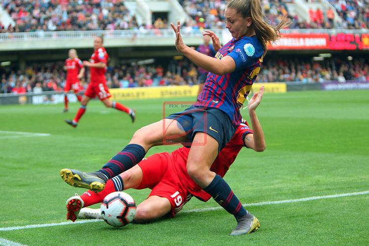 UEFA Women's Champions League 2018/2019.<br /> Semi Finals<br /> FC Barcelona vs FC Bayern Munchen: 1-0.<br /> Carina Wenninger vs Lieke Martens.