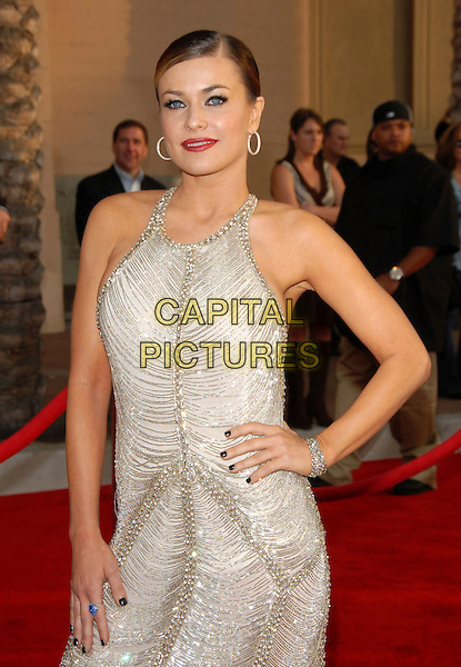 CARMEN ELECTRA.The 34th Annual American Music Awards held at The Shrine Auditorium in Los Angeles, California, USA. - Arrivals.November 21st, 2006.half length hand on hip silver hoop earrings jewel encrusted dress.CAP/DVS.©Debbie VanStory/Capital Pictures