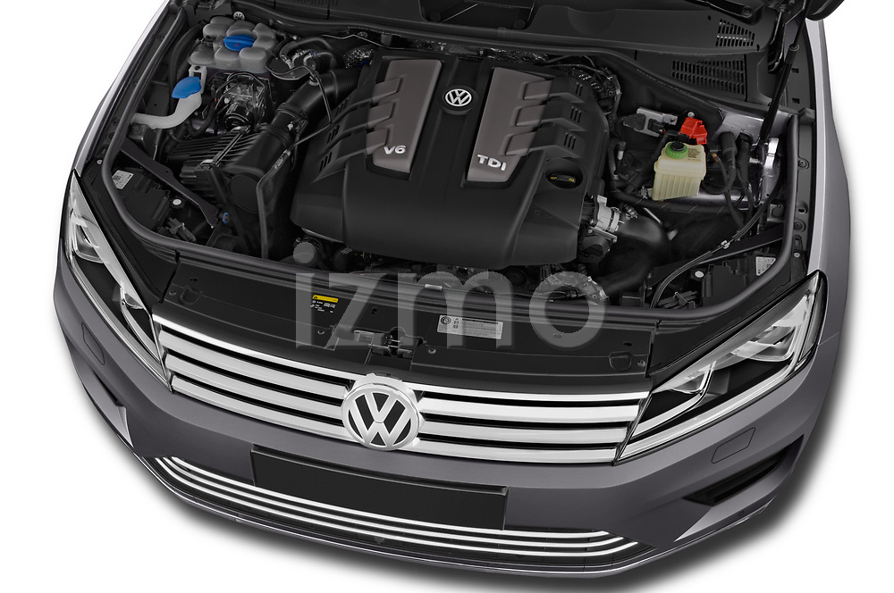 Car Stock 2017 Volkswagen Touareg Sport 5 Door SUV Engine  high angle detail view