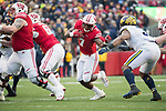 Wisconsin Badgers running back Bradrick Shaw (7) carries the ball during an NCAA College Big Ten Conference football game against the Michigan Wolverines Saturday, November 18, 2017, in Madison, Wis. The Badgers won 24-10. (Photo by David Stluka)