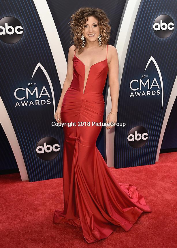 NASHVILLE, TN - NOVEMBER 14:  Jamie Floyd at the 52nd Annual CMA Awards at the Bridgetone Arena on November 14, 2018 iin Nashville, Tennessee. (Photo by Scott Kirkland/PictureGroup)