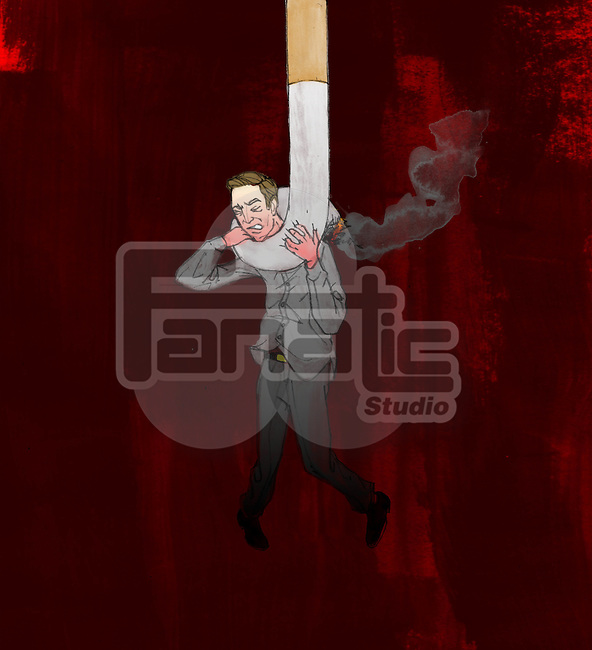 Man trapped from cigarette depicting the concept of smoking kills
