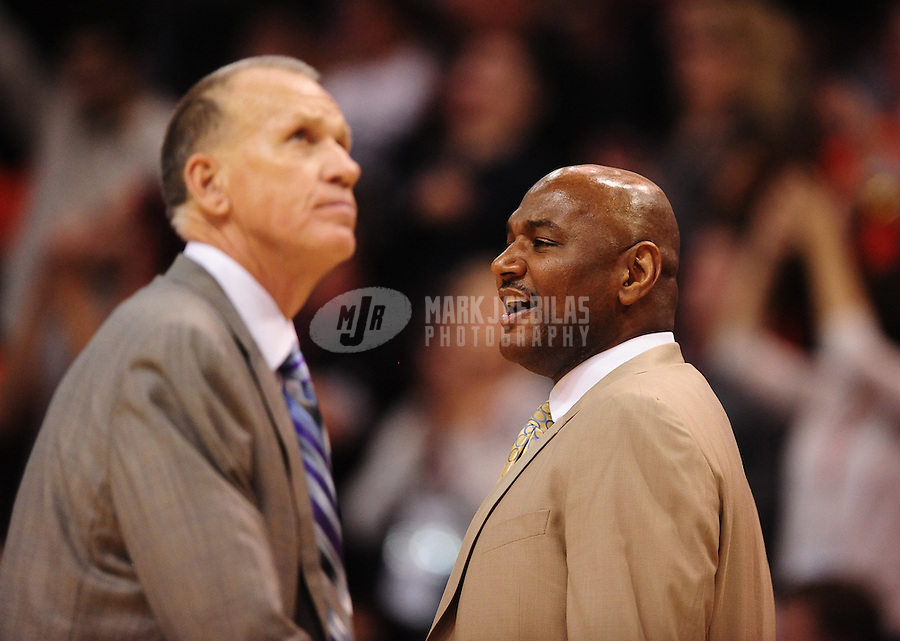 Dec. 28, 2011; Phoenix, AZ, USA; Philadelphia 76ers assistant head coach Michael Curry (right) and head coach Doug Collins during game against the Phoenix Suns at the US Airways Center. The 76ers defeated the Suns 103-83. Mandatory Credit: Mark J. Rebilas-USA TODAY Sports