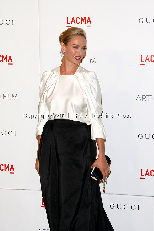 LOS ANGELES - NOV 5:  Uma Thurman arrives at the LACMA Art + Film Gala at LA County Museum of Art on November 5, 2011 in Los Angeles, CA