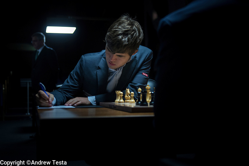UK. London. 23rd March 2013..Magnus Carlsen at the World Chess Championships in London..©Andrew Testa for the New York Times