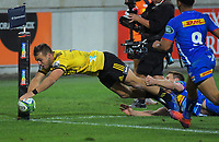Wes Goosen scores in the corner during the Super Rugby match between the Hurricanes and Stormers at Westpac Stadium in Wellington, New Zealand on Saturday, 23 March 2019. Photo: Dave Lintott / lintottphoto.co.nz