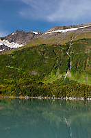Waterfalls along the hills of the Chugach mountains, Chugach National Forest, Prince William Sound, southcentral, Alaska.