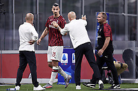 Zlatan Ibrahimovic and Stefano Pioli coach of AC Milan during the Serie A football match between AC Milan and Bologna FC at stadio Giuseppe Meazza in Milano ( Italy ), July 18th, 2020. Play resumes behind closed doors following the outbreak of the coronavirus disease. <br /> Photo Image Sport / Insidefoto