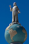 Monumento al Divino Salvador del Mundo (Monument to the Divine Savior of the World) is a monument located on Plaza El Salvador del Mundo (The Savior of the World Plaza) in San Salvador, El Salvador.  It consists of a statue of Jesus Christ standing atop a global sphere of planet earth.