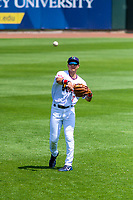 Cedar Rapids Kernels third baseman Andrew Bechtold (7) warms up in the outfield prior to a Midwest League game against the Clinton LumberKings on May 28, 2018 at Perfect Game Field at Veterans Memorial Stadium in Cedar Rapids, Iowa. Clinton defeated Cedar Rapids 4-3. (Brad Krause/Four Seam Images)