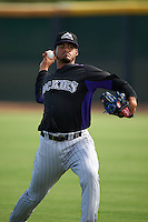 Colorado Rockies pitcher Jesus Tinoco (47) during practice before an instructional league game against the SK Wyverns on October 10, 2015 at the Salt River Fields at Talking Stick in Scottsdale, Arizona.  (Mike Janes/Four Seam Images)