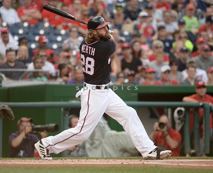 Washington Nationals Jayson Werth (28) during a game against the Cincinnati Reds on July 1, 2016 at Nationals Park in Washington DC. The Nationals beat the Reds 3-2.