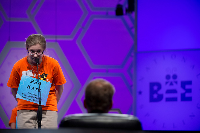 Speller 234 Kate Miller competes in the preliminary rounds of the Scripps National Spelling Bee at the Gaylord National Resort and Convention Center in National Habor, Md., on Wednesday,  May 30, 2012. Photo by Bill Clark