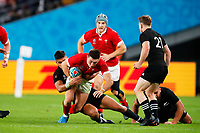 1st November 2019, Tokyo, Japan;  Josh Adams (WAL) is tackled on the run;  2019 Rugby World Cup 3rd place match between New Zealand 40-17 Wales at Tokyo Stadium in Tokyo, Japan.  - Editorial Use