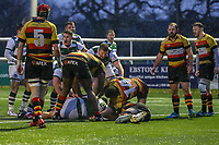 Ealing Trailfinders score a try during the Championship Cup match between Ealing Trailfinders and Richmond at Castle Bar , West Ealing , England  on 15 December 2018. Photo by David Horn.