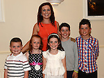 Fiona Curley pictured with nephews and neices Josh Caffrey, Anna Leigh McGuinness, Kate, Liam and Gary Burke at her going away party in the Glenside hotel. Photo:Colin Bell/pressphotos.ie