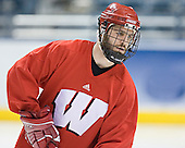 Jake Dowell - The University of Wisconsin Badgers practiced on Friday, April 7, 2006, at the Bradley Center in Milwaukee, Wisconsin.  The following evening the Badgers defeated Boston College 2-1 to win the Title.