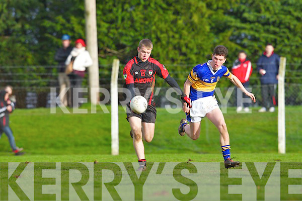 Kevin O'Sullivan of Kenmare Shamrocks and Conor Prunty of Castleknock in the AIB GAA Football All-Ireland Junior Club Championhsip, Semi-Final, last Sunday in Mitchelstown, Co. Cork.