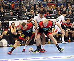 10.01.2019, Mercedes Benz Arena, Berlin, GER, Handball WM 2019, Deutschland vs. Korea, im Bild <br /> Martin Strobel (GER #19), Patrick Wiencek (GER #7), JI Hyung Jin (Korea #2)<br /> <br />      <br /> Foto © nordphoto / Engler