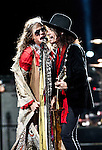 Steven Tyler and Joe Perry of Aerosmith perform at Nationwide Arena during the 'Global Warming Tour' in Columbus, Ohio.