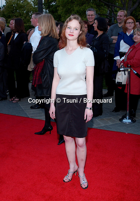 "Thora Birch arriving at the premiere of "" Changing Lanes"" on the Paramount Lot Theatre in Los Angeles. April 7, 2002."
