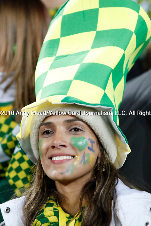 15 JUN 2010: A Brazil fan in the stands, pregame. The Brazil National Team played the North Korea National Team at Ellis Park Stadium in Johannesburg, South Africa in a 2010 FIFA World Cup Group G match.