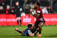 25th July 2020, Christchurch, New Zealand;  Sevu Reece of the Crusaders is tackled by Jordie Barrett of the Hurricanes during the Super Rugby Aotearoa, Crusaders versus Hurricanes at Orangetheory stadium, Christchurch