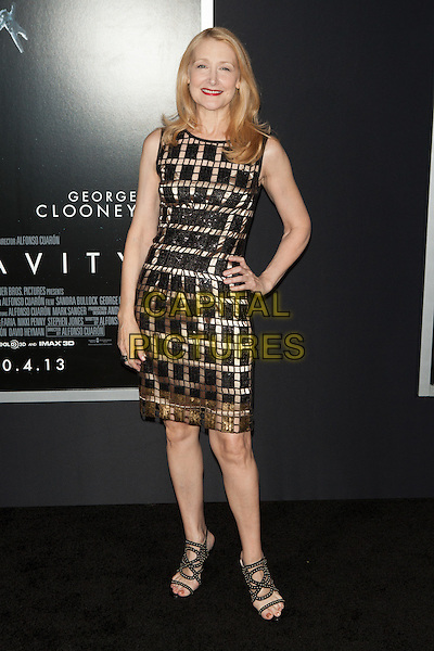 Patricia Clarkson<br /> The 'Gravity' premiere at AMC Lincoln Square Theater, New York City, NY., USA.<br /> October 1st, 2013<br /> full length dress sleeveless hand on hip black silver gold squares pattern <br /> CAP/MPI/COR<br /> &copy;Corredor99/ MediaPunch/Capital Pictures