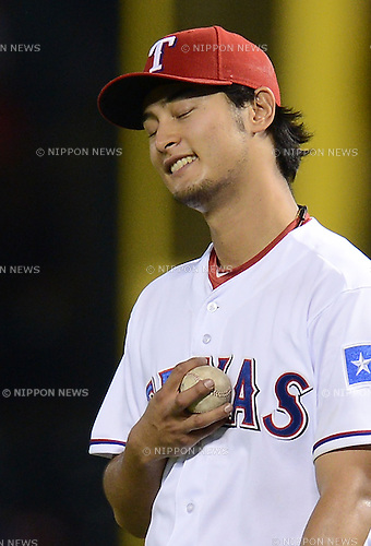 Yu Darvish (Rangers),.APRIL 30, 2013 - MLB :.Pitcher Yu Darvish of the Texas Rangers celebrates as he puts the ball on his chest during the baseball game against the Chicago White Sox at Rangers Ballpark in Arlington in Arlington, Texas, United States. (Photo by AFLO)