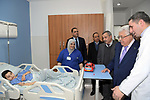 Palestinian President Mahmoud Abbas, visits the pediatric department of the consulting hospital, in the West Bank city of Ramallah, on January 20, 2020. Photo by Thaer Ganaim