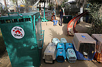 """Animals are seen in crates at a zoo in Rafah in the southern Gaza Strip, during the evacuation by members of the international animal welfare charity """"Four Paws"""" of animals from the Palestinian enclave to relocate to sanctuaries in Jordan, on April 7, 2019. Forty animals including five lions are to be rescued from squalid conditions in the Gaza Strip, an animal welfare group said. Photo by Ashraf Amra"""