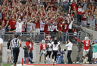 The fans react to the touchdown catch by Ohio State Buckeyes wide receiver Devin Smith (9) during the fourth quarter of Saturday's NCAA Division I football game at Ohio Stadium in Columbus on September 27, 2014. (Columbus Dispatch photo by Jonathan Quilter)