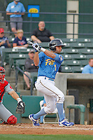Myrtle Beach Pelicans infielder Daniel Lockhart (7) at bat during a game against the Salem Red Sox at Ticketreturn.com Field at Pelicans Ballpark on May 6, 2015 in Myrtle Beach, South Carolina.  Myrtle Beach defeated Salem 4-2. (Robert Gurganus/Four Seam Images)