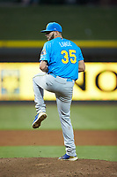 Myrtle Beach Pelicans starting pitcher Alex Lange (35) in action against the Winston-Salem Dash at BB&T Ballpark on August 6, 2018 in Winston-Salem, North Carolina. The Dash defeated the Pelicans 6-3. (Brian Westerholt/Four Seam Images)