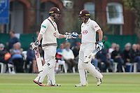 Mark Stoneman (L) and Scott Borthwick during Surrey CCC vs Essex CCC, Specsavers County Championship Division 1 Cricket at Guildford CC, The Sports Ground on 9th June 2017