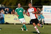 LEER - Voetbal , Werder Bremen - FC Emmen, oefenduel, seizoen 2018--2019, 04-09-2018, FC Emmen speler Reuven Niemeijer met Davy Klaassen