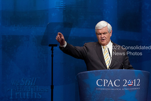 Former Speaker of the United States House Newt Gingrich (Republican of Georgia), a candidate for the 2012 Republican Party nomination for President of the United States, makes remarks at the 2012 CPAC Conference at the Marriott Wardman Park Hotel in Washington, D.C. on Friday, February 10, 2012..Credit: Ron Sachs / CNP