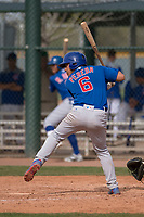 Chicago Cubs first baseman Jhonny Pereda (6) at bat during a Minor League Spring Training game against the Oakland Athletics at Sloan Park on March 13, 2018 in Mesa, Arizona. (Zachary Lucy/Four Seam Images)