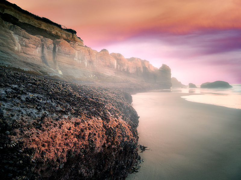 Low tide cliffs at Devil's Punchbowl State Natural Area. Oregon