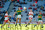 Fiáchra Clifford Kerry in action against Paddy Quigg Derry in the All-Ireland Minor Footballl Final in Croke Park on Sunday.