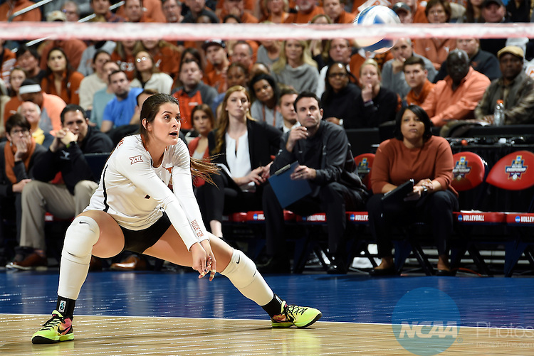 COLUMBUS, OH - DECEMBER 17:  Paulina Prieto Cerame (19) of he University of Texas returns a serve against Stanford University during the Division I Women's Volleyball Championship held at Nationwide Arena on December 17, 2016 in Columbus, Ohio.  Stanford defeated Texas 3-1 to win the national title. (Photo by Jamie Schwaberow/NCAA Photos via Getty Images)