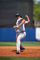 Lakeland Flying Tigers relief pitcher Jeff Thompson (33) delivers a pitch during a game against the Charlotte Stone Crabs on April 16, 2017 at Charlotte Sports Park in Port Charlotte, Florida.  Lakeland defeated Charlotte 4-2.  (Mike Janes/Four Seam Images)