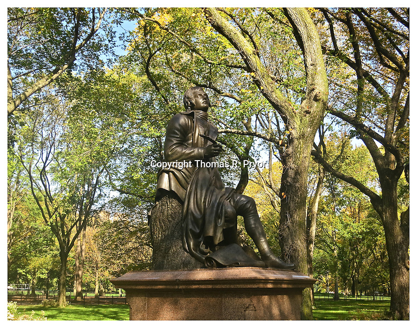 NEW YORK, NY - OCTOBER 19: Robert Burns statue on Poet's Walk in Central Park on October 19, 2012 in New York, New York. Photo Credit: Thomas R. Pryor