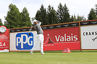 Tyrrell Hatton (ENG) tees off the 14th tee during Sunday's Final Round of the 2017 Omega European Masters held at Golf Club Crans-Sur-Sierre, Crans Montana, Switzerland. 10th September 2017.<br /> Picture: Eoin Clarke | Golffile<br /> <br /> <br /> All photos usage must carry mandatory copyright credit (&copy; Golffile | Eoin Clarke)